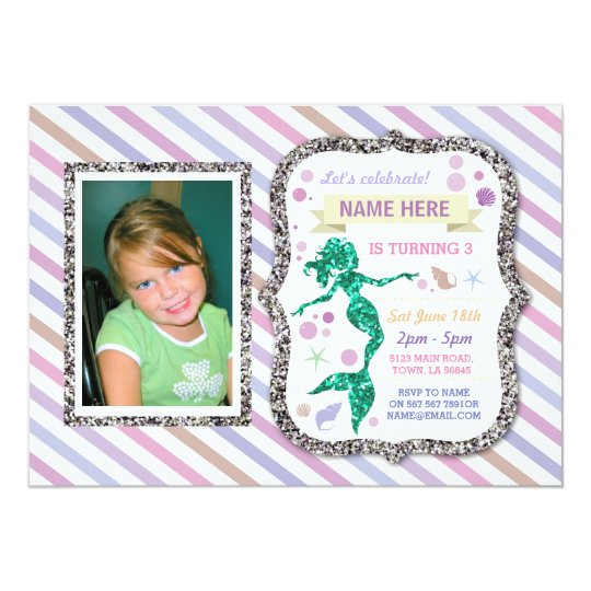 Mermaid Silver Glitter Purple Stripe Invitation