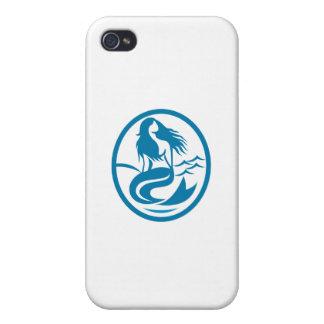 Mermaid Siren Sitting Singing Oval Retro Cases For iPhone 4