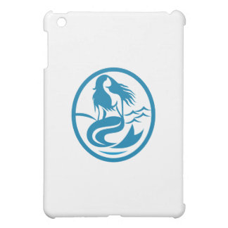 Mermaid Siren Sitting Singing Oval Retro iPad Mini Covers