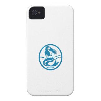 Mermaid Siren Sitting Singing Oval Retro iPhone 4 Cover