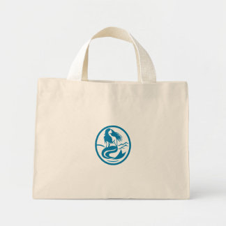 Mermaid Siren Sitting Singing Oval Retro Mini Tote Bag