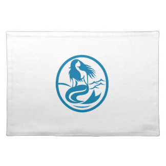 Mermaid Siren Sitting Singing Oval Retro Placemat
