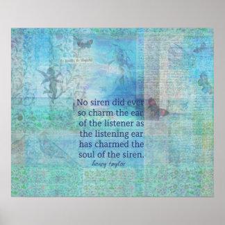 Mermaid Siren whimsical art poem quote Poster