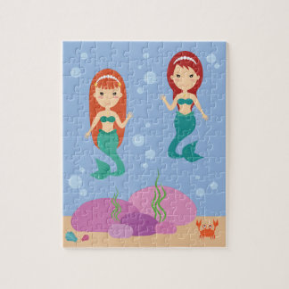 Mermaid sisters in the sea waving kids puzzle