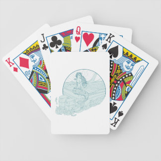 Mermaid Sitting on Boat Drawing Bicycle Playing Cards