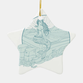 Mermaid Sitting on Boat Drawing Ceramic Ornament