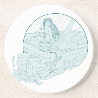 Mermaid Sitting on Boat Drawing Coaster