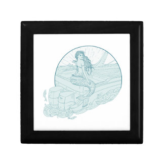 Mermaid Sitting on Boat Drawing Gift Box