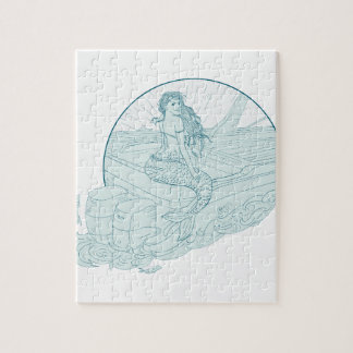 Mermaid Sitting on Boat Drawing Jigsaw Puzzle