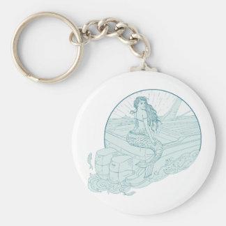 Mermaid Sitting on Boat Drawing Keychain