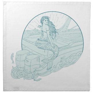 Mermaid Sitting on Boat Drawing Napkin