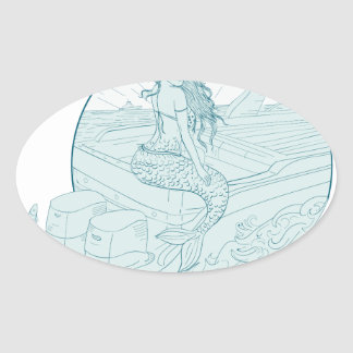 Mermaid Sitting on Boat Drawing Oval Sticker