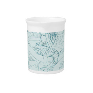 Mermaid Sitting on Boat Drawing Pitcher