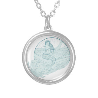 Mermaid Sitting on Boat Drawing Silver Plated Necklace