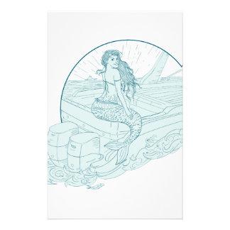 Mermaid Sitting on Boat Drawing Stationery