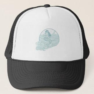 Mermaid Sitting on Boat Drawing Trucker Hat