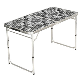 mermaid skin in black and white (pattern) beer pong table