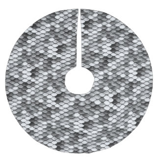 mermaid skin in black and white (pattern) brushed polyester tree skirt