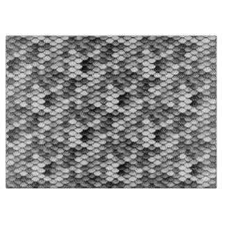 mermaid skin in black and white (pattern) cutting board