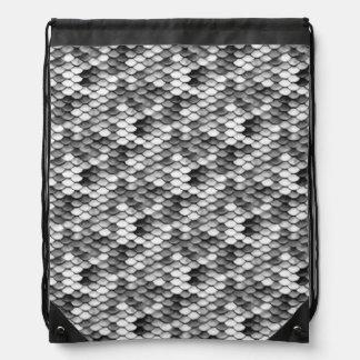 mermaid skin in black and white (pattern) drawstring bag