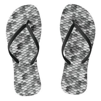mermaid skin in black and white (pattern) flip flops