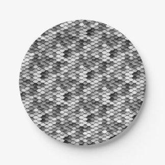 mermaid skin in black and white (pattern) paper plate