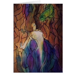 mermaid stainglass card