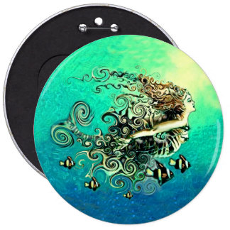 Mermaid Swimming with the Fish 6 Inch Round Button