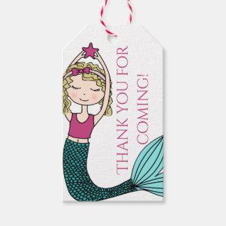 Mermaid tag, thank you favor gift tag birthday tag