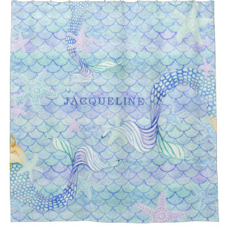 Mermaid Tail Fish Scale Pattern Girl Name Starfish