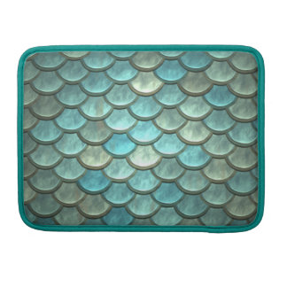 Mermaid Tail Scales Soft Blue Green Turquoise MacBook Pro Sleeve