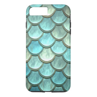 Mermaid Tail Scales Soft Blues Greens Turquoise iPhone 8 Plus/7 Plus Case