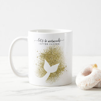 Mermaid Tail Silhouette in Gold Glitter Coffee Mug