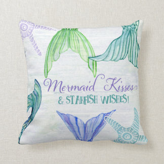 Mermaid Tails Kisses Starfish Wishes Saying Wood Throw Pillow