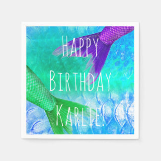 Mermaid Tails & Scales Teal Purple Paper Napkin