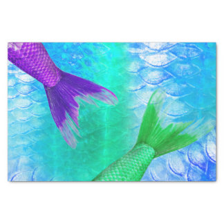 Mermaid Tails & Scales Teal Purple Tissue Paper