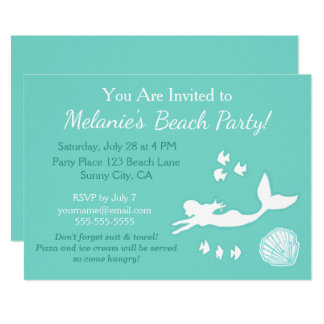 Mermaid Teal Beach Party Custom Invitation