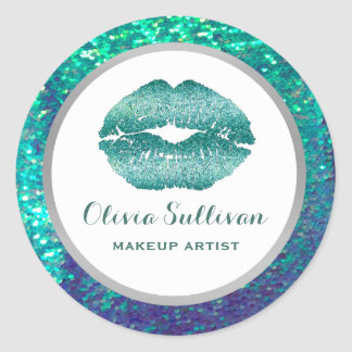 mermaid teal lips on faux sequin classic round sticker