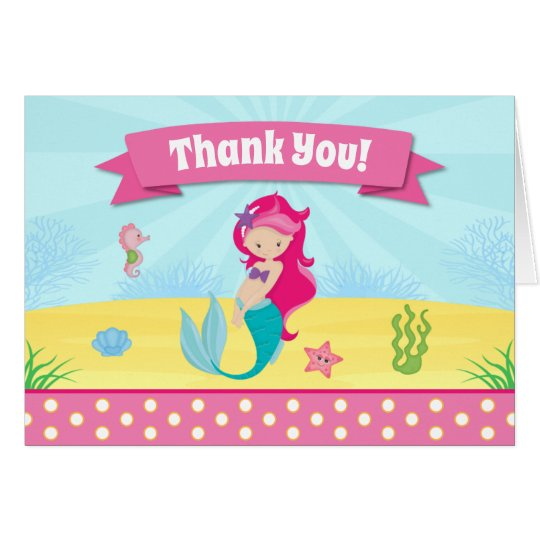 Mermaid Thank You Card Folded Note Card