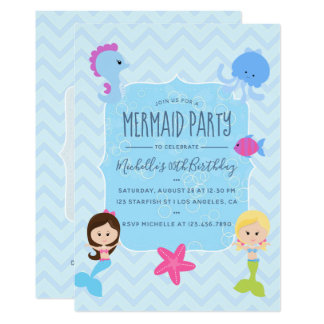 Mermaid themed Birthday Party add photo invitation