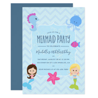 Mermaid themed Birthday Party invitation