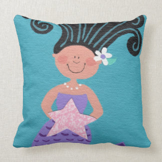 MERMAID TREASURE Whimsical Cute Teal Square Pillow