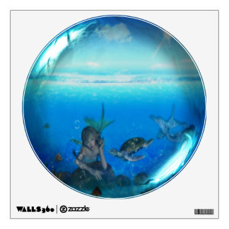 Mermaid & Turtle Glass Sphere Wall Decal