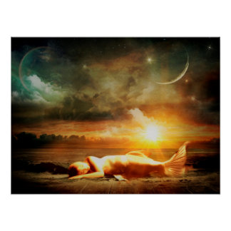 Mermaid under Moon Starry Night Mystical Poster