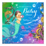 """Mermaid Under the Sea Baby Shower 5.25"""" Square Invitation Card"""