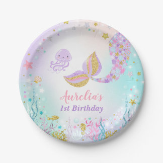 """Mermaid Under The Sea Paper Plate 7"""" Paper Plates"""