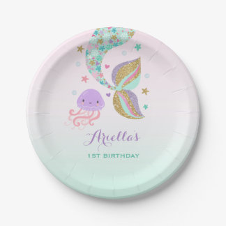 "Mermaid Under The Sea Paper Plate 7"" Paper Plates 7 Inch Paper Plate"