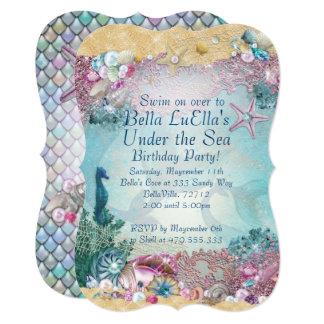 Mermaid Under the Sea Party Invitations