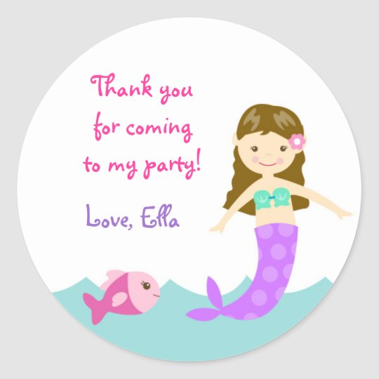 Mermaid Under The sea Round Favour Stickers