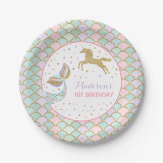 "Mermaid & Unicorn Gold Paper Plate 7"" Paper Plates"